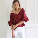 V-Neck Puff Sleeve Shirt