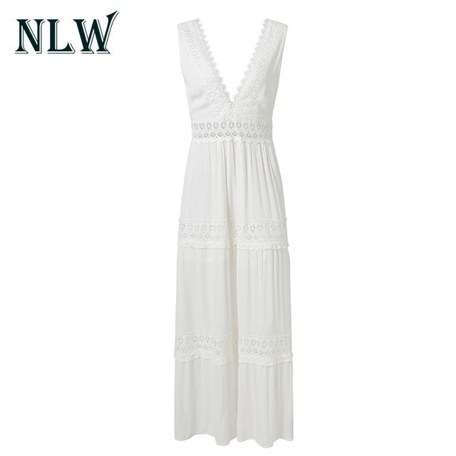 NLW Deep V Neck White Lace Sexy Dress