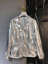 silver color trench coat