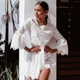 VIEUNSTA Sexy Ruffles Lace Hollow Out Summer Dress