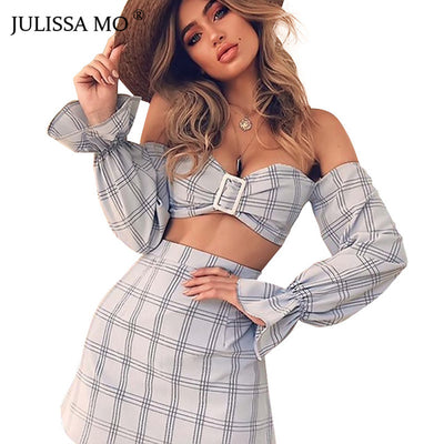 JILISSAMO Two Piece Set Strapless Summer Dress
