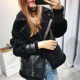 Leather Fluffy Wool Coat