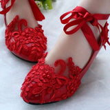 White/Red Lace Pearls Wedding Shoes