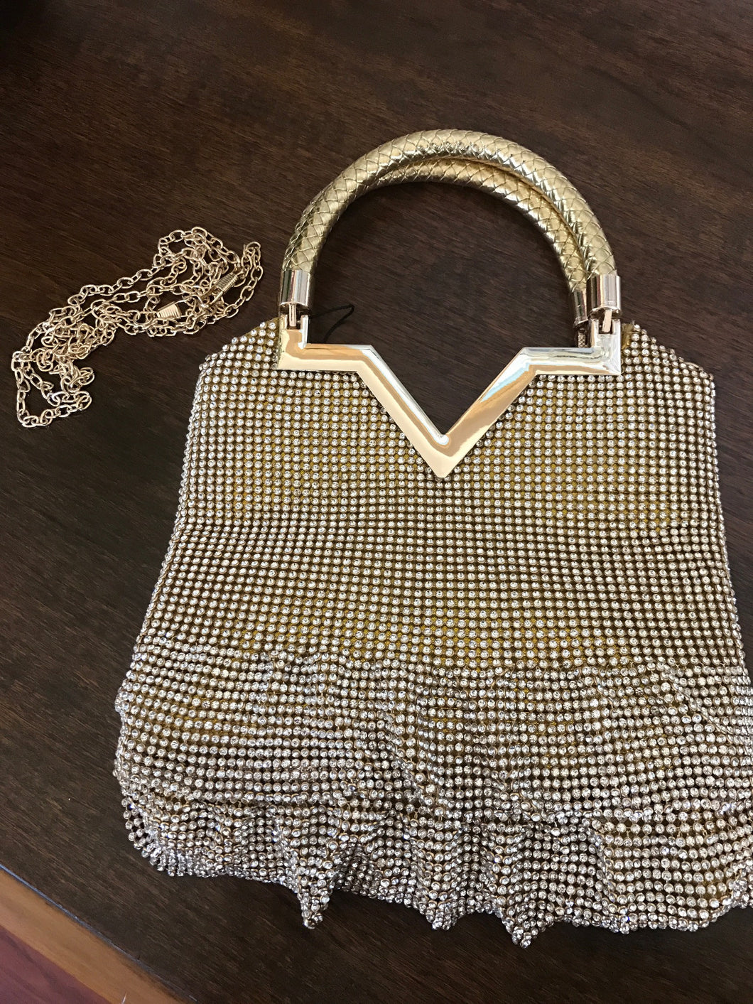 Gold &  Rhinestone Evening Bag