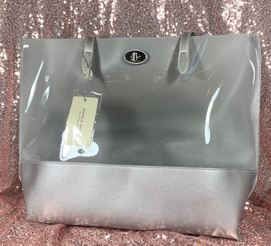 David Jones 2 piece silver and clear brief with flowered interior bag