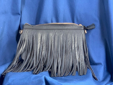 Black fringed suede-style purse