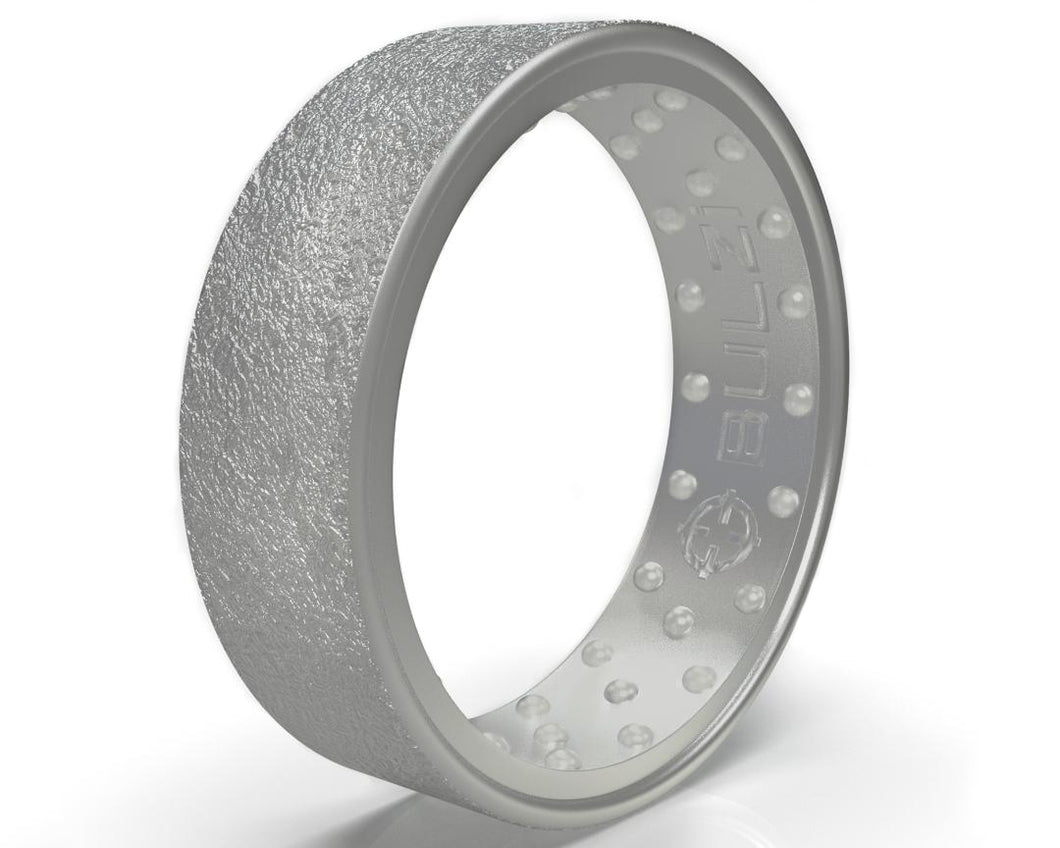 NEW Silver Hammered - 2x-LSR Silicone Ring