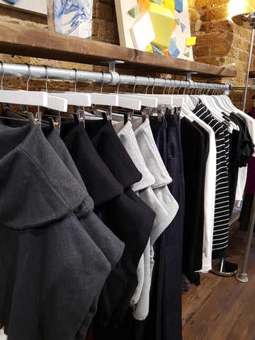 affordable ethical clothing UK, Zola Amour rail within a sustainable pop up shop.