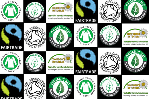 Sustainable fashion and fair trade certification logos