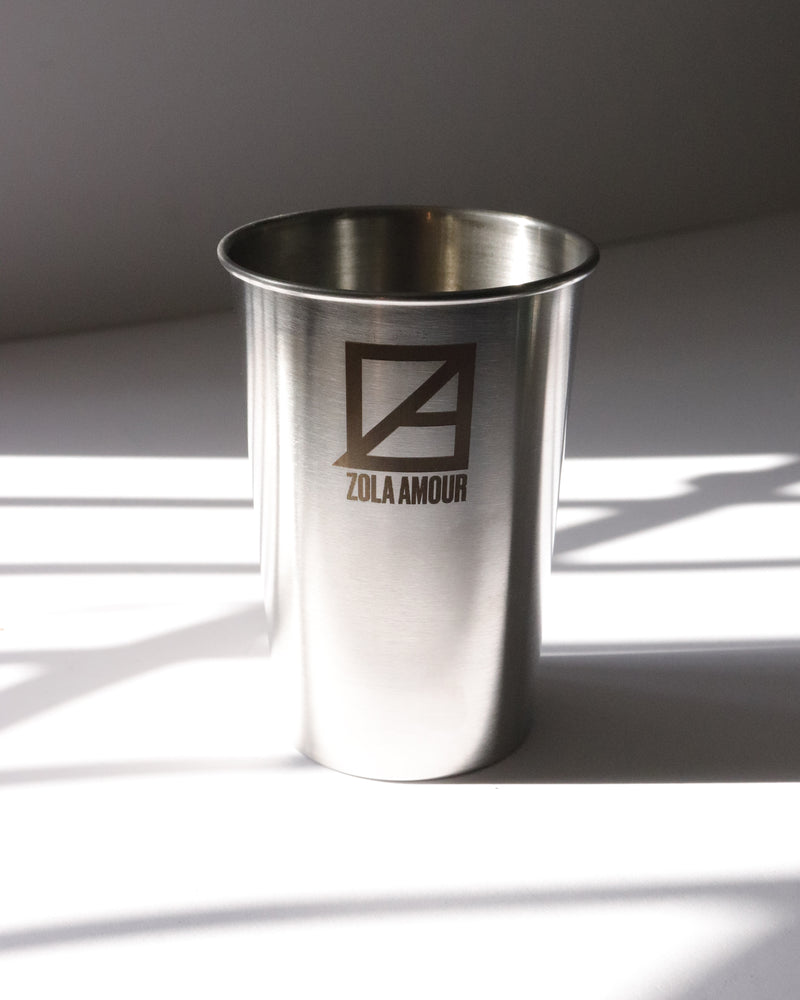 Half pint size re-usable stainless steel cup.