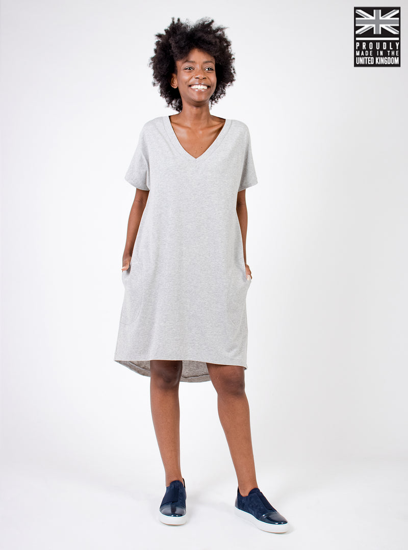 Organic Cotton Tshirt Dress - Light Grey