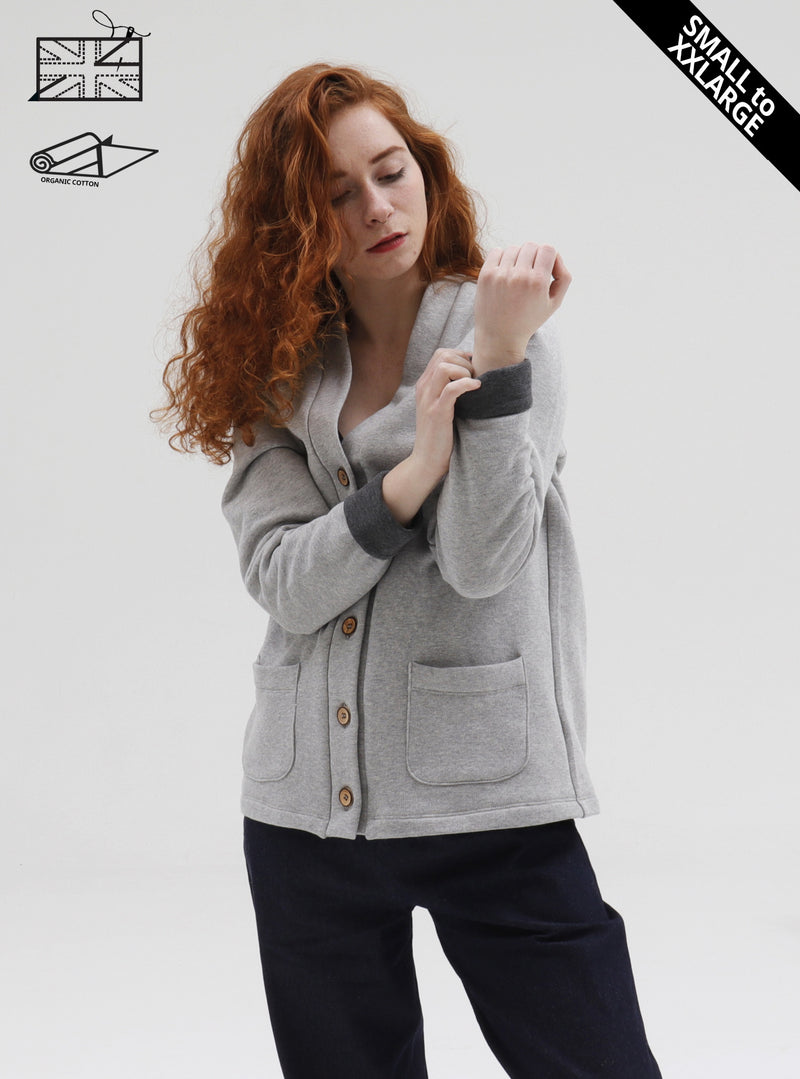 Grace modelling organic cotton fleece grandad cardigan with contrast cuffs