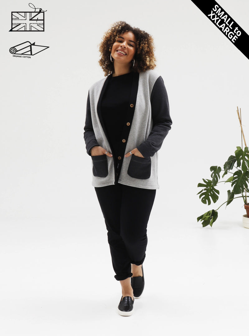 Nina modelling organic cotton fleece grandad cardigan with contrast cuffs