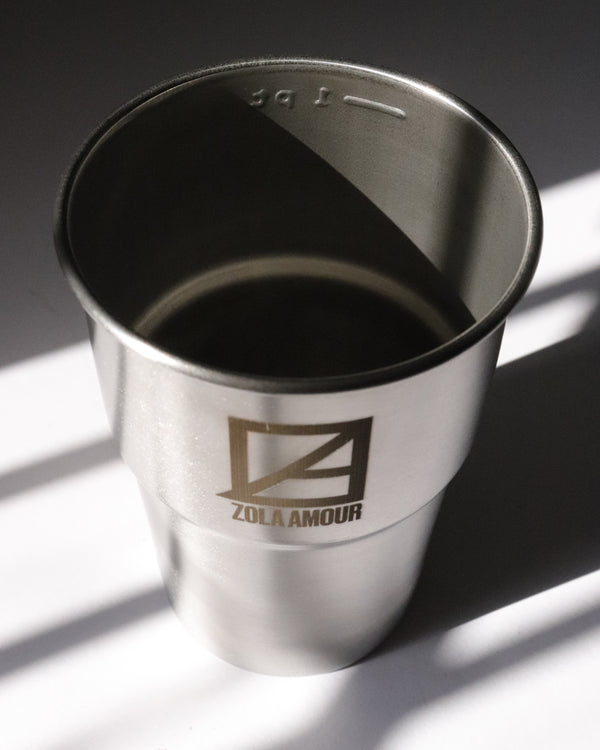 Pint size re-usable stainless steel cup.