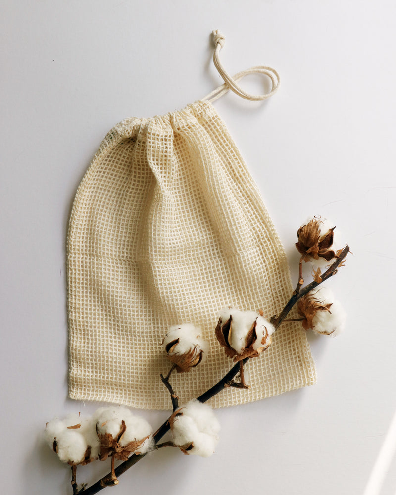 Re-usable grocery and produce bags, made out of organic cotton.