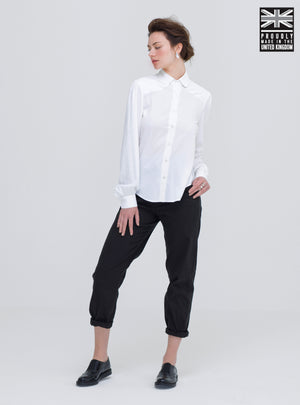 Women wearing the softest shirt, made out of sustainable bamboo fabric. Ethically made to order in the uk and is part of our conscious clothing collection.