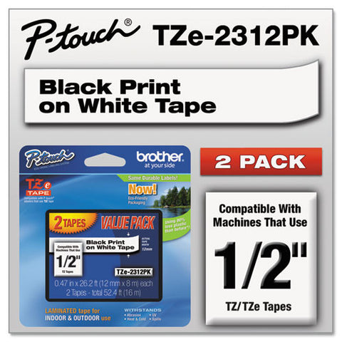 "TZe Standard Adhesive Laminated Labeling Tapes, 1/2""w, Black on White, 2/Pack"