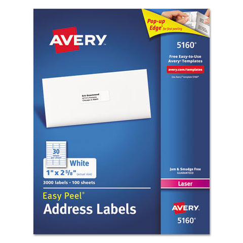 Easy Peel Mailing Address Labels, Laser, 1 x 2 5/8, White, 3000/Box
