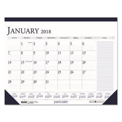 Recycled Two-Color Monthly Desk Pad Calendar w/Large Notes Section, 22x17, 2018