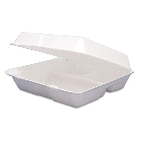 Foam Container, Hinged Lid, 3-Comp, 9 1/2 x 9 1/4 x 3, 200/Carton