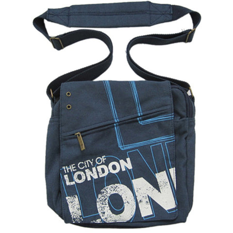 Original Robin Ruth Brand London Messenger Bag Small Navy on Black
