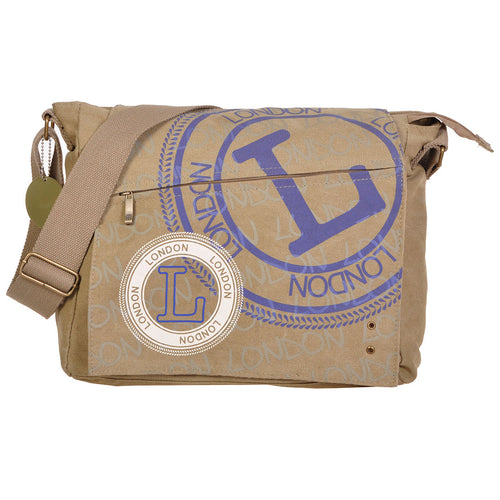 Original Robin Ruth Brand London Messenger Bag-Large beige blue lettering