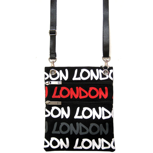 Original Robin Ruth Brand London Neck Pouch grey white and red on Black