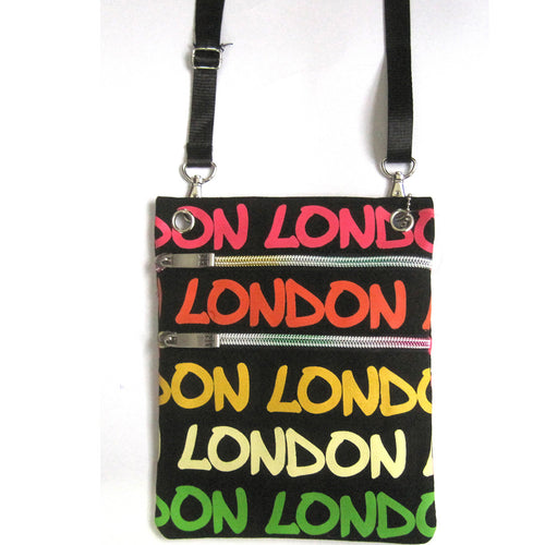 Original Robin Ruth Brand London Neck pouch pink yellow on black