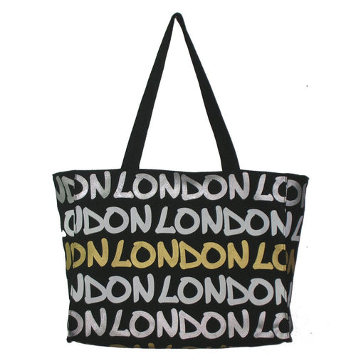 Beautiful  original Robin Ruth brand London Tote  Bag Large Gold White Silver on Black lettering