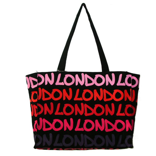 Rainbow London Tote Bag original  by Robin Ruth Brand  Large Pink Purple on black with lettering
