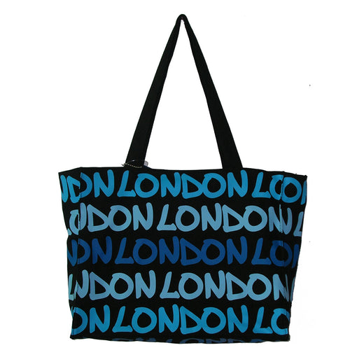 Rainbow Tote Bag London original By Robin Ruth brand  Large Blue on Black