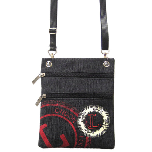 Original Robin Ruth Brand London Stamp Neck Pouch London Black  & red