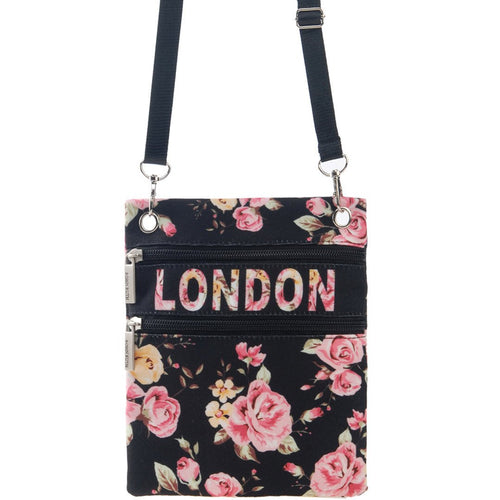 Flower Neck Pouch by Original Robin Ruth Brand  Black Rose - London Art and Souvenirs