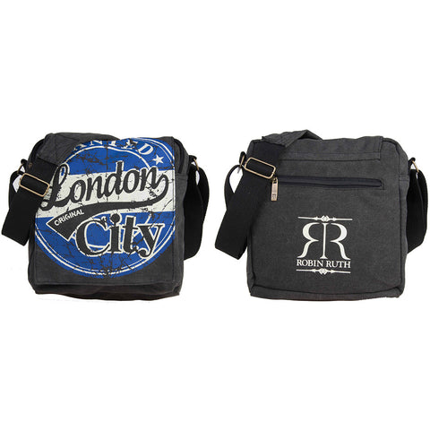 ROBIN RUTH BRAND Wanted Messenger Bag London  Large Black Royal Blue