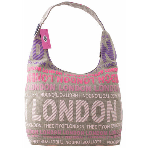 STYLISH LONDON SLING BAG  ORIGINAL BY ROBIN RUTH  BEIGE FUCHIA