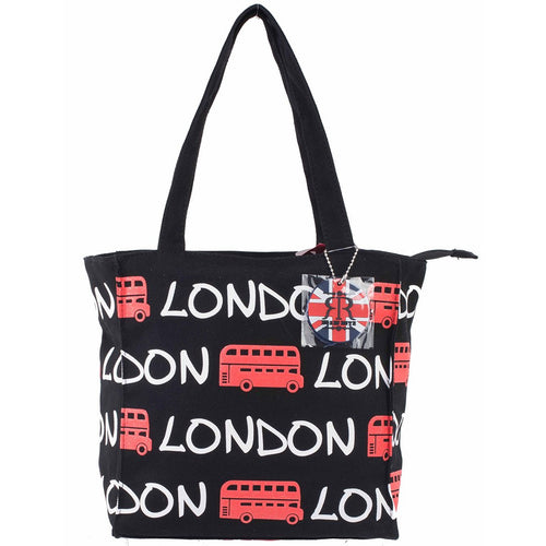 LONDON RED BUS TOTE BAG ORIGINAL BY ROBIN RUTH BRAND  BLACK WHITE AND RED