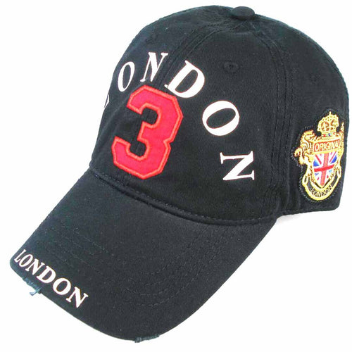 LONDON 3 POLO BADGE BASEBALL CAP  AN ORIGINAL ROBIN RUTH BRAND Black red number - London Art and Souvenirs