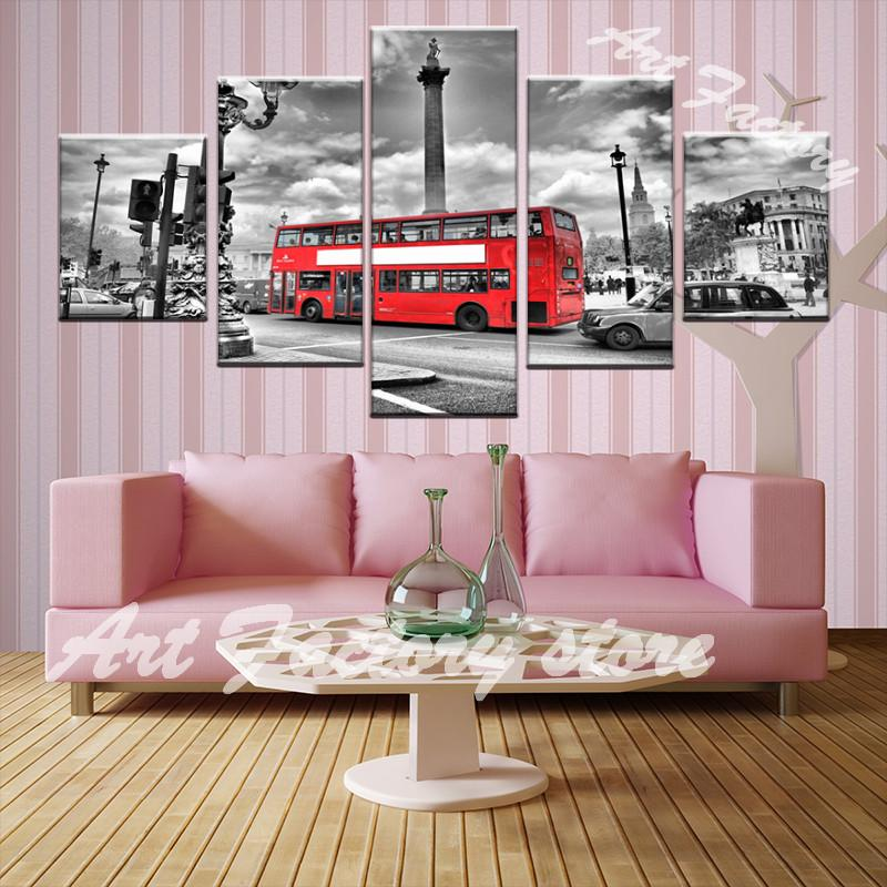 High Quality Canvas Print  5 Piece Set  RED BUS LONDON - London Art and Souvenirs