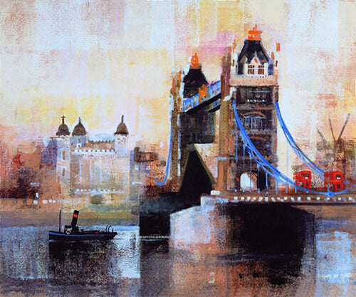 Beautiful  Abstract Landscape London Tower Bridge Oil Painting On Canvas-UNFRAMED