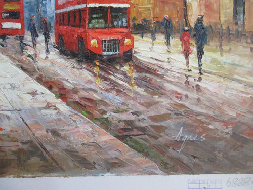 BEAUTIFUL OIL PAINTING OF  LONDON BUS ON THE BANKS OF THE RIVER THAMES SIGNED BY ARTIST UNFRAMED