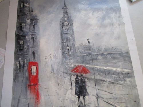 OIL PAINTING OF WALKING COUPLE IN LONDON RAIN  WITH RED UMBRELLA UNFRAMED