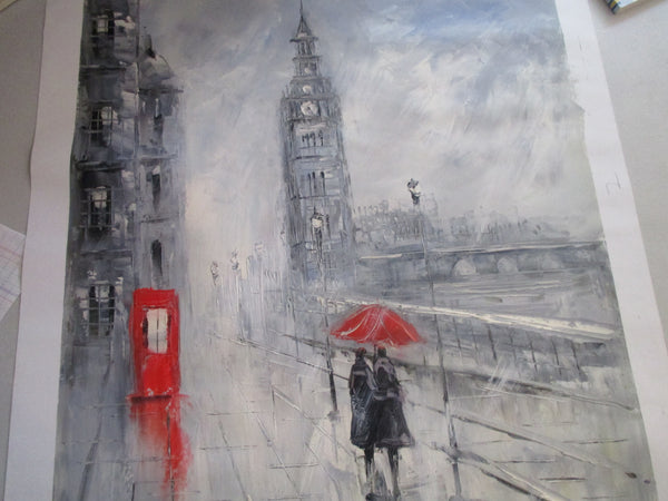 Oil Painting Of Walking Couple In London Rain With Red