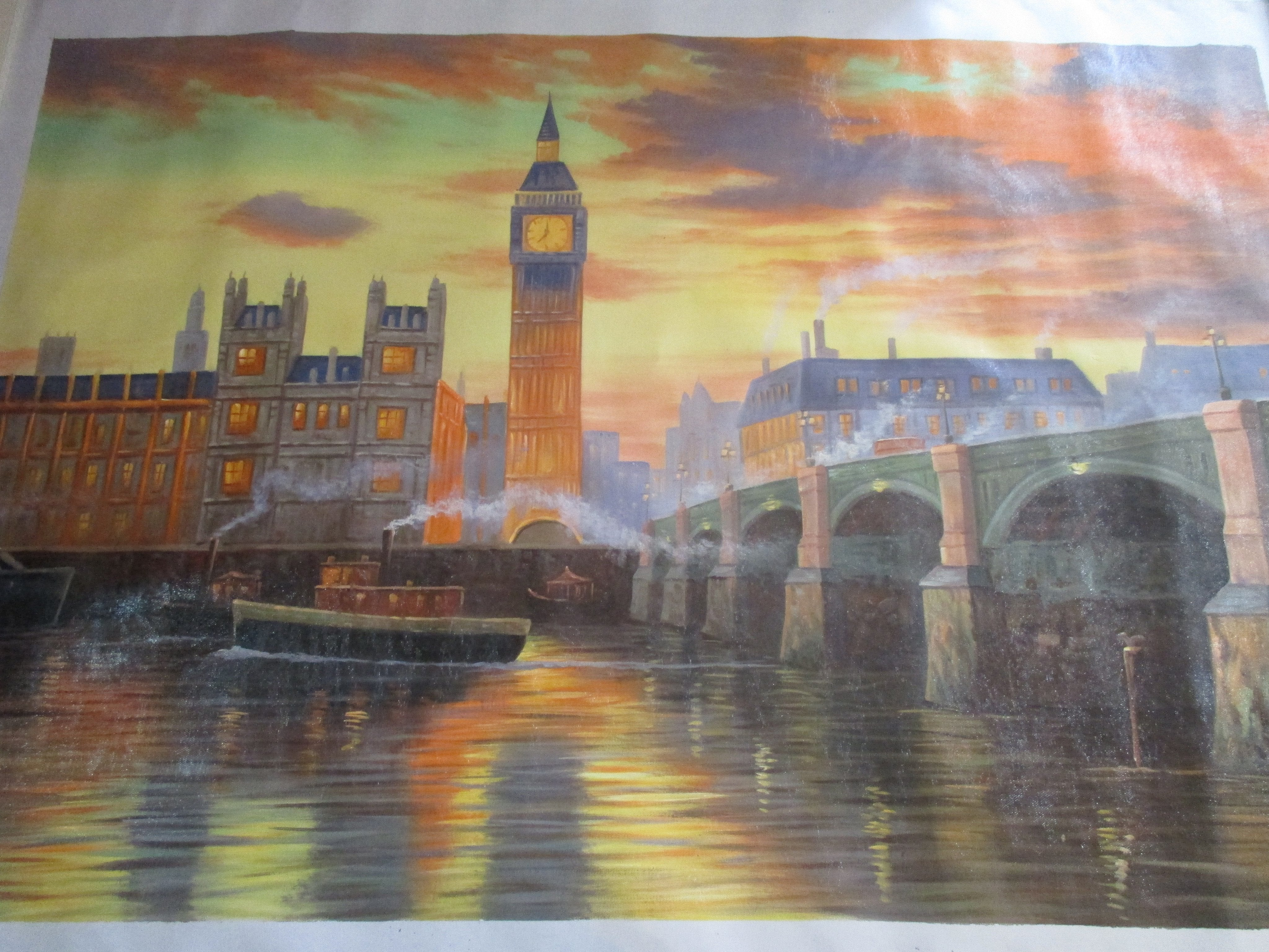 LARGE OIL PAINTING OF THE RIVER THAMES AND BIG BEN LONDON UNFRAMED - London Art and Souvenirs