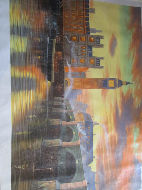 LARGE OIL PAINTING OF THE RIVER THAMES AND BIG BEN LONDON UNFRAMED