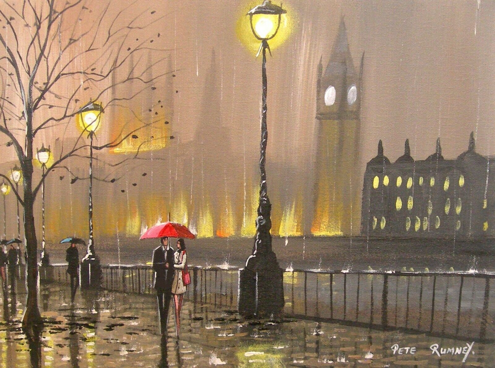 "AN ORIGINAL CANVAS OIL PAINTING ""A NIGHT IN THE LONDON RAIN"""