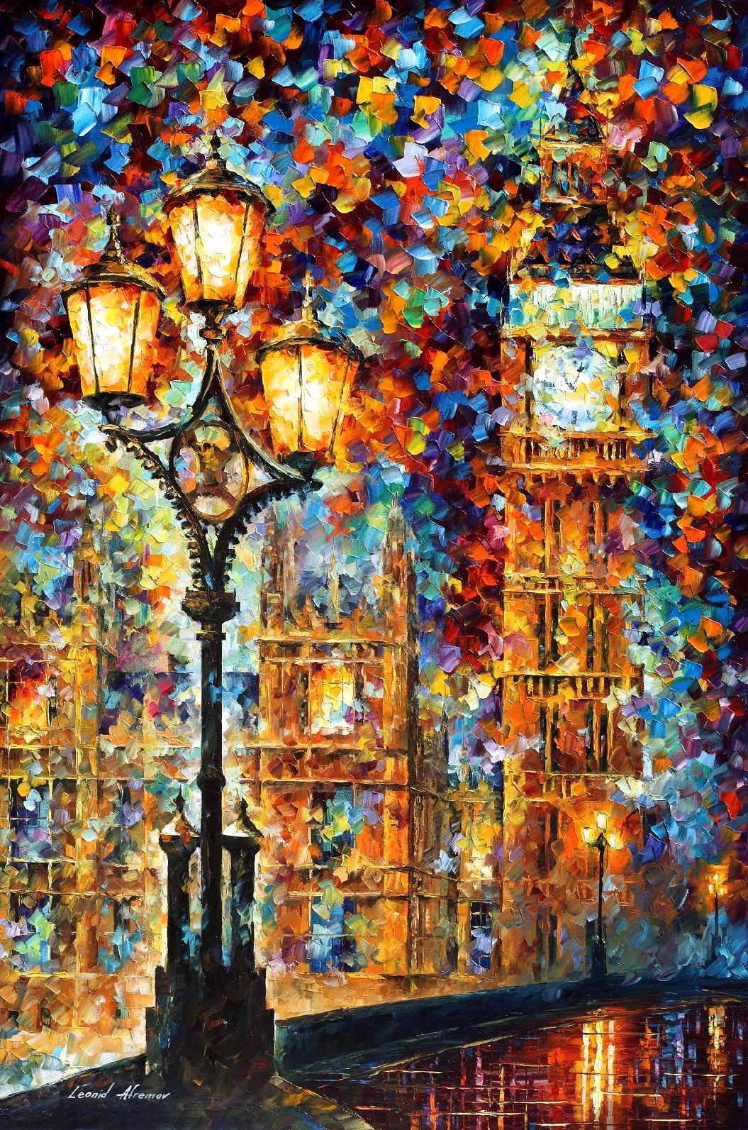 LONDON DREAMS -PALLETTE KNIFE OIL PAINTING ON CANVAS BY LEONID AFREMOV