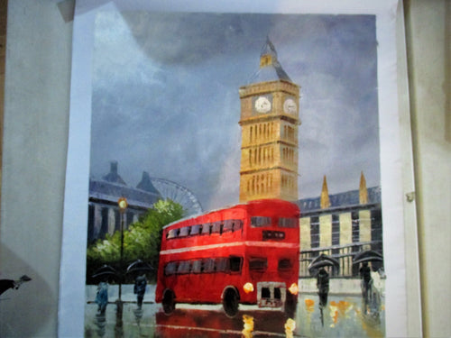 LONDON BUS AND BIG BEN OIL PAINTING