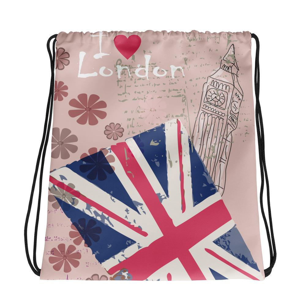 I LOVE LONDON SPORTY DRAWSTRING BAGS - London Art and Souvenirs