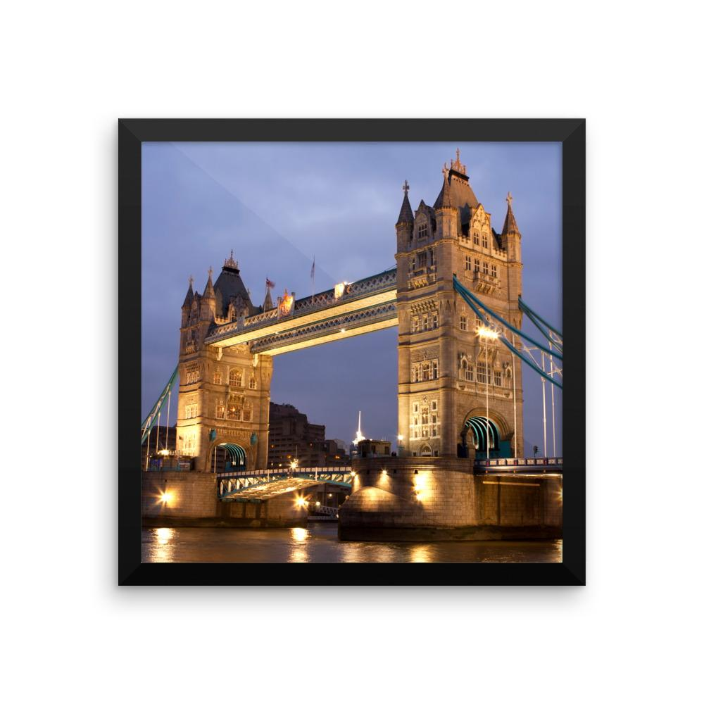 TOWER BRIDGE LONDON NIGHT SCENE FRAMED PHOTO PRINT