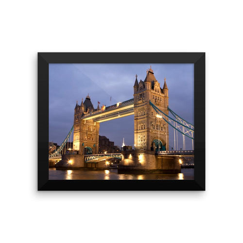 TOWER BRIDGE LONDON NIGHT SCENE FRAMED PHOTO PRINT - London Art and Souvenirs